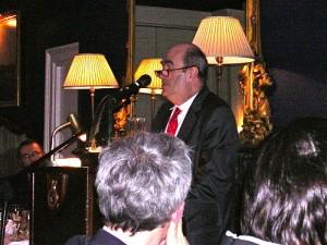 Colm Toibin receiving 2011 Irish PEN Award for Literature