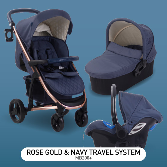 Rose Gold and Navy MB200 Travel System - by Billie Faiers