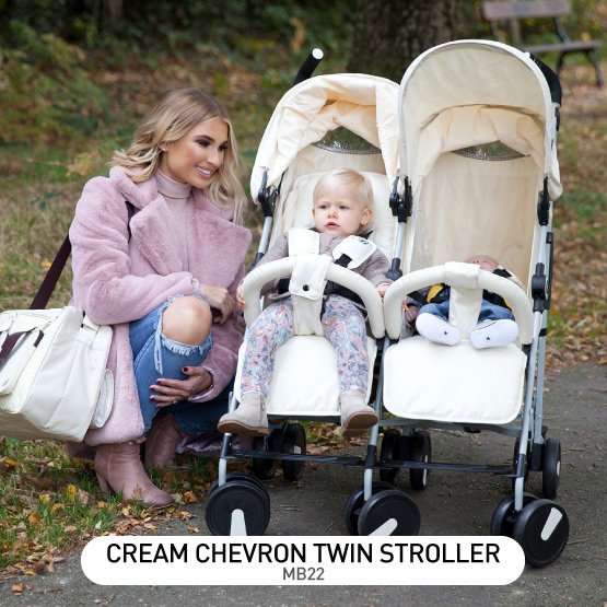 Cream Chevron MB22 Double Stroller - by Billie Faiers