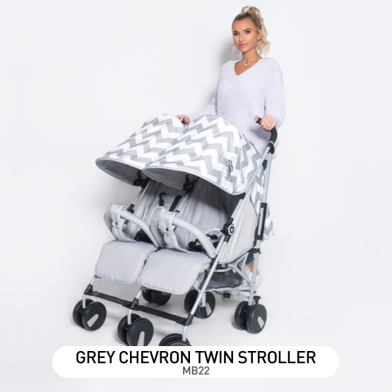 Grey Chevron MB22 Double Stroller - by Billie Faiers