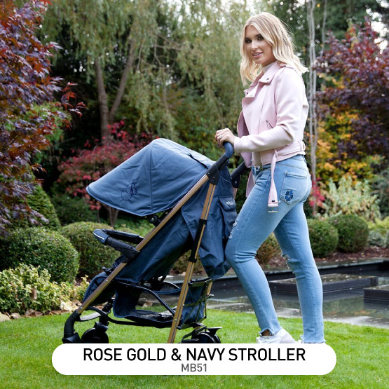 Rose Gold and Navy MB51 Stroller - by Billie Faiers
