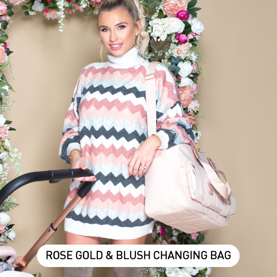 Rose Gold and Blush Deluxe Baby Changing Bag - by Billie Faiers