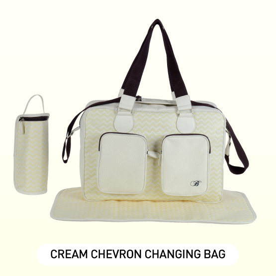 Cream Chevron Deluxe Baby Changing Bag - by Billie Faiers