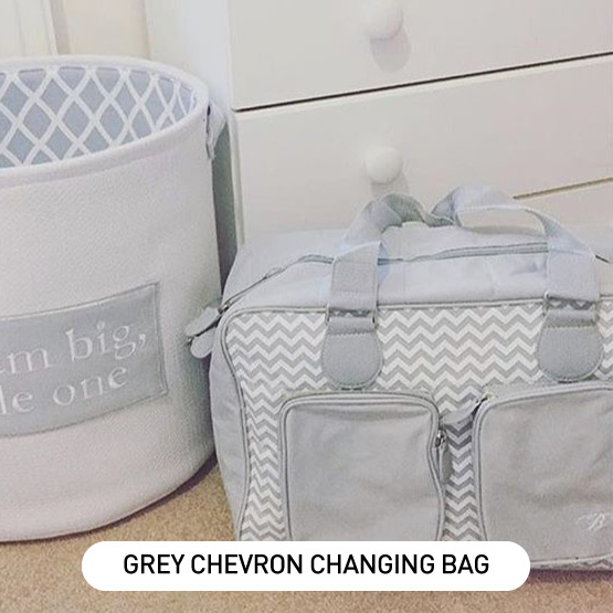 Grey Chevron Deluxe Baby Changing Bag - by Billie Faiers