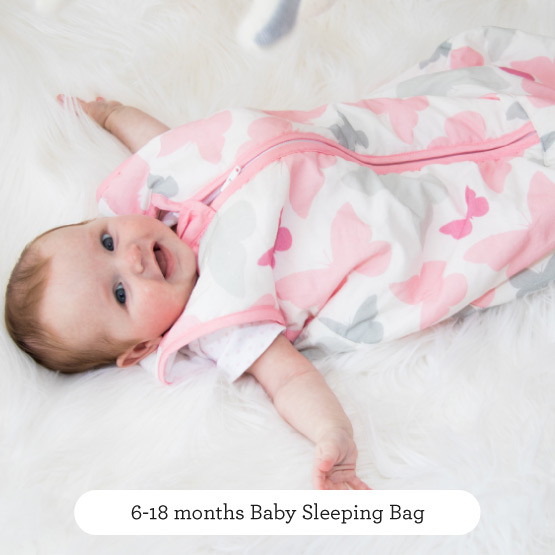Pink Butterflies Baby Sleeping Bag - Believe by Katie Piper