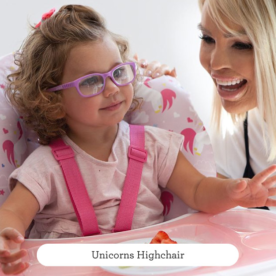 Pink Unicorns Highchair - Believe by Katie Piper