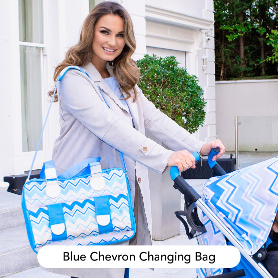 Blue Chevron Changing Bag - Dreamiie by Samantha Faiers