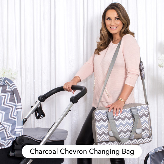 Charcoal Chevron Changing Bag - Dreamiie by Samantha Faiers