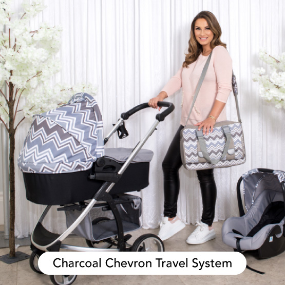 Charcoal Chevron Travel System - Dreamiie by Samantha Faiers