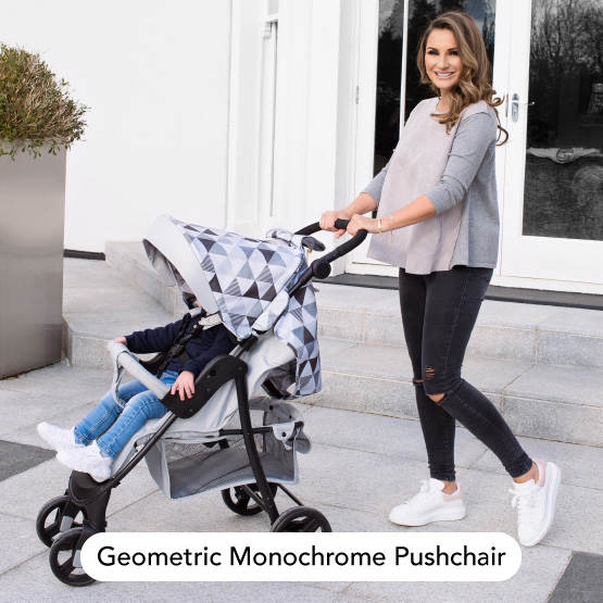 Geometric Monochrome Pushchair - Dreamiie by Samantha Faiers