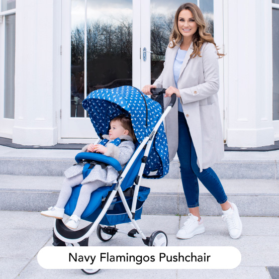 Navy Blue Flamingos Super Light Pushchair - Dreamiie by Samantha Faiers
