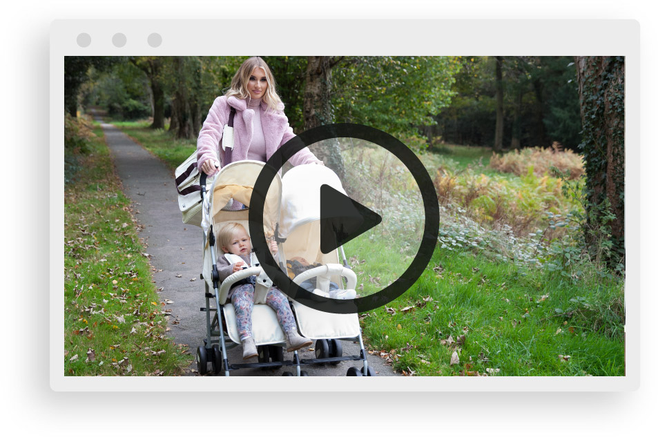 Take a walk with My Babiie & the Billie Faiers MB22 Cream Chevron Twin Stroller
